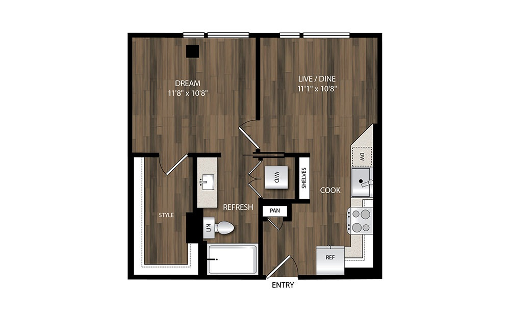 A1 - 1 bedroom floorplan layout with 1 bath and 557 square feet.