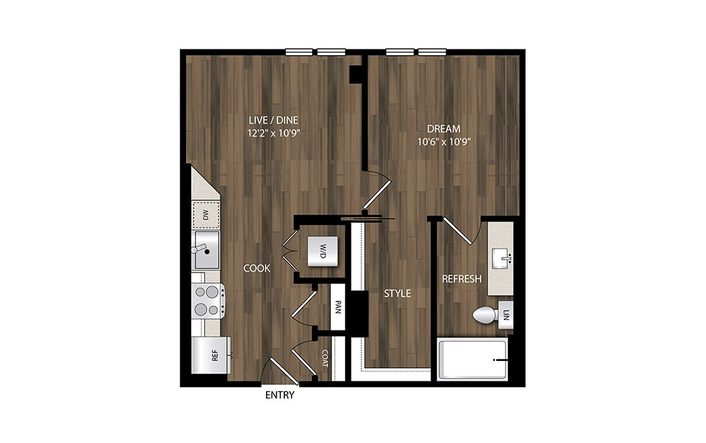 A1.1 - 1 bedroom floorplan layout with 1 bath and 558 square feet.