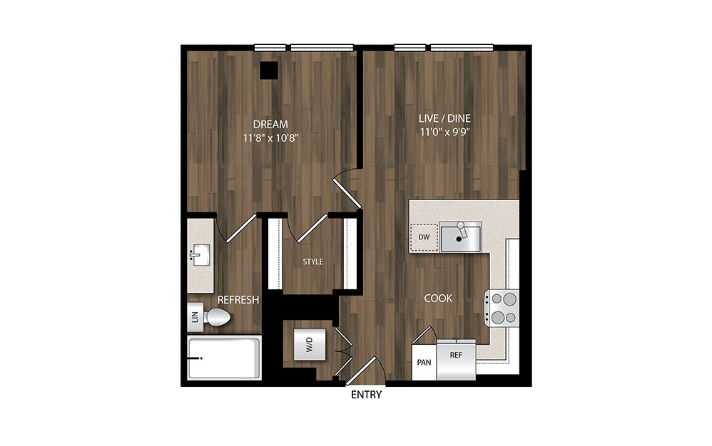 A1.2 - 1 bedroom floorplan layout with 1 bath and 557 square feet.