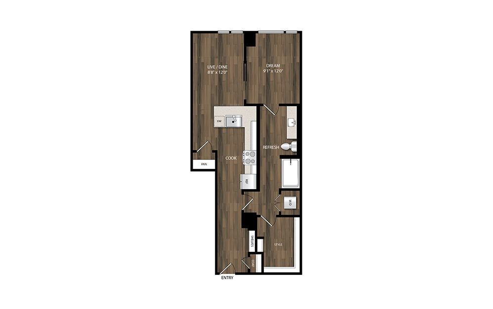 A10 - 1 bedroom floorplan layout with 1 bath and 706 square feet.