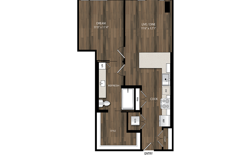 A11 - 1 bedroom floorplan layout with 1 bath and 725 square feet.