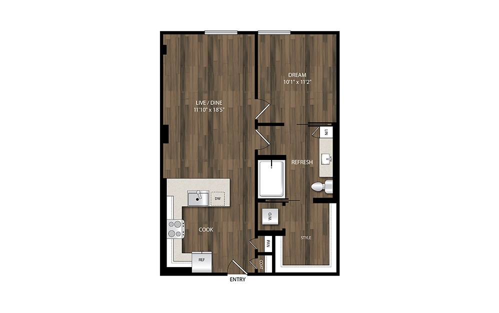 A12 - 1 bedroom floorplan layout with 1 bath and 737 square feet.