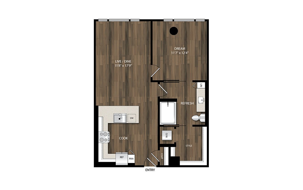 A12.1 - 1 bedroom floorplan layout with 1 bath and 770 square feet.