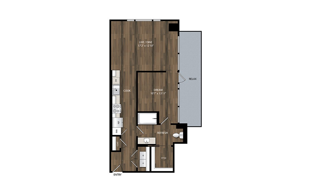 A13 - 1 bedroom floorplan layout with 1 bath and 747 square feet.
