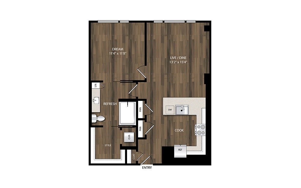 A14 - 1 bedroom floorplan layout with 1 bath and 803 square feet.