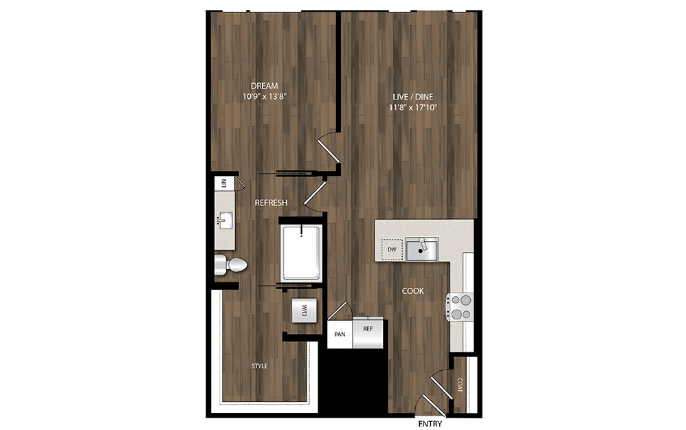 A15 - 1 bedroom floorplan layout with 1 bath and 798 square feet.
