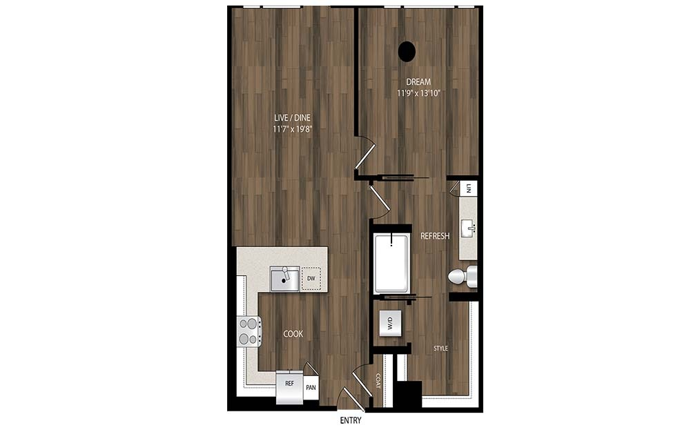 A16 - 1 bedroom floorplan layout with 1 bath and 809 square feet.