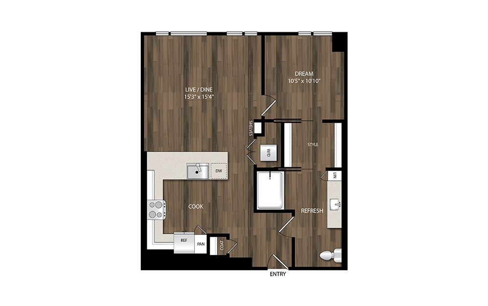 A17 - 1 bedroom floorplan layout with 1 bath and 815 square feet.