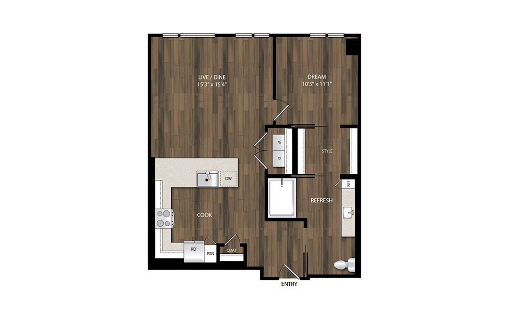 A17.1 - 1 bedroom floorplan layout with 1 bath and 815 square feet.