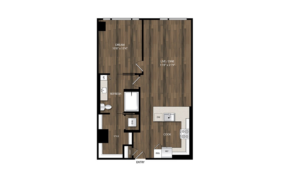 A18 - 1 bedroom floorplan layout with 1 bath and 825 square feet.