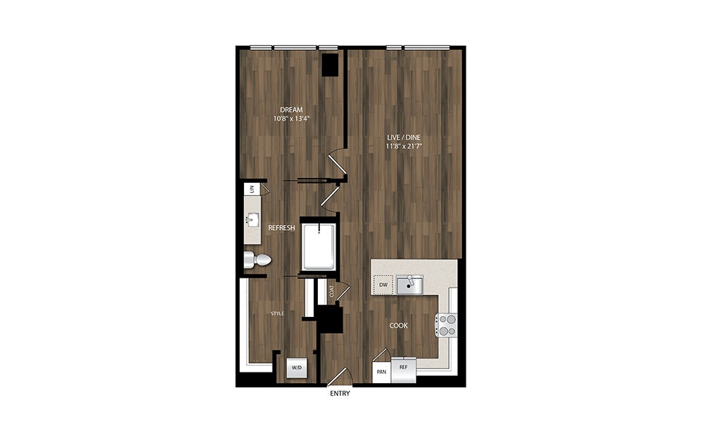A18.1 - 1 bedroom floorplan layout with 1 bath and 825 square feet.