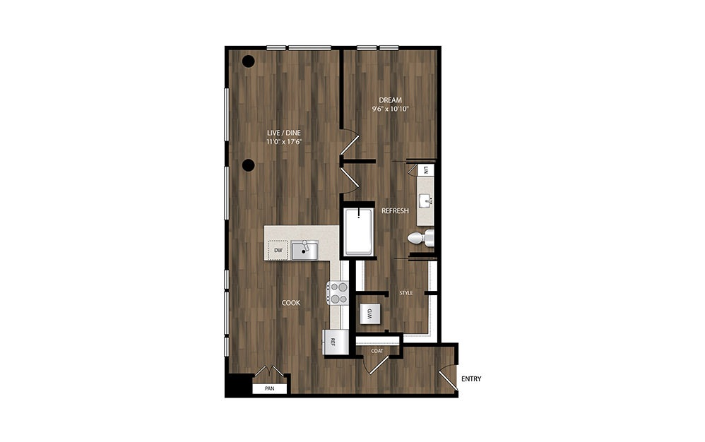 A19 - 1 bedroom floorplan layout with 1 bath and 839 square feet.