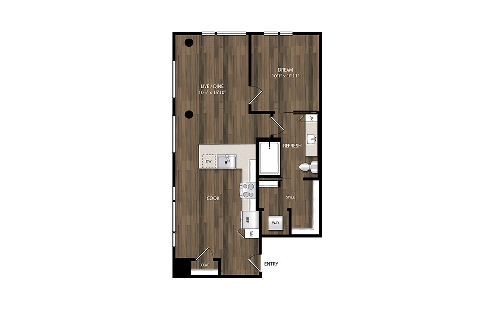A19.1 - 1 bedroom floorplan layout with 1 bath and 782 square feet.