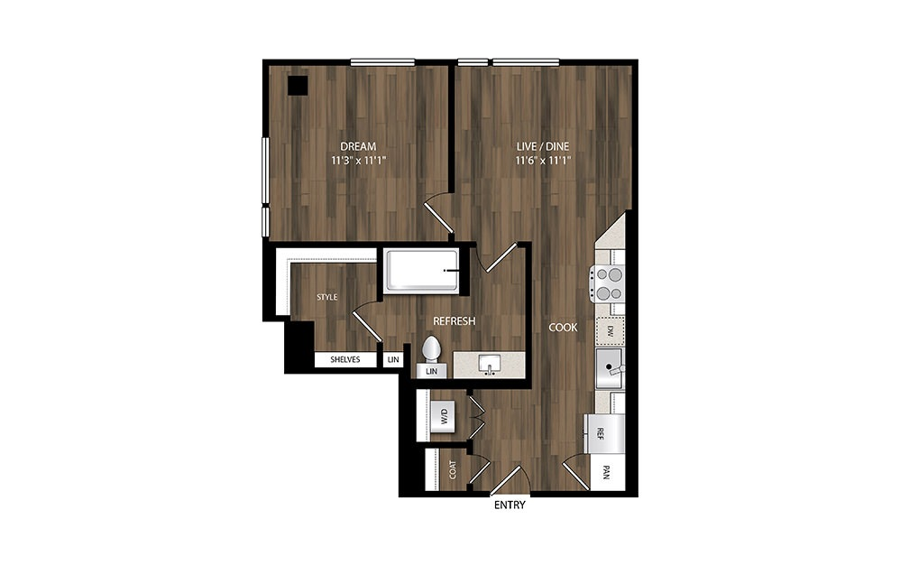A2 - 1 bedroom floorplan layout with 1 bath and 616 square feet.