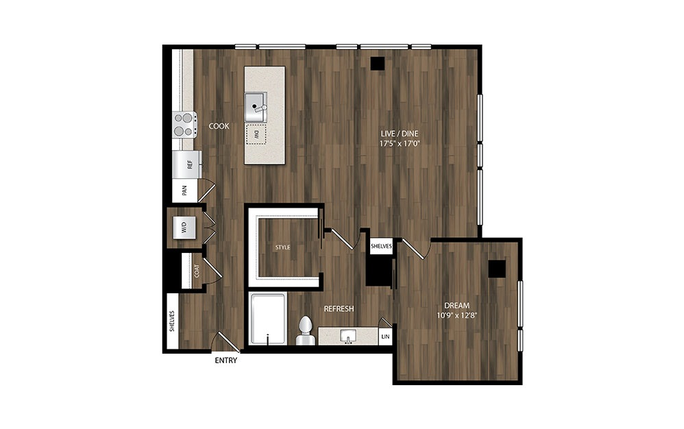 A20 - 1 bedroom floorplan layout with 1 bath and 917 square feet.