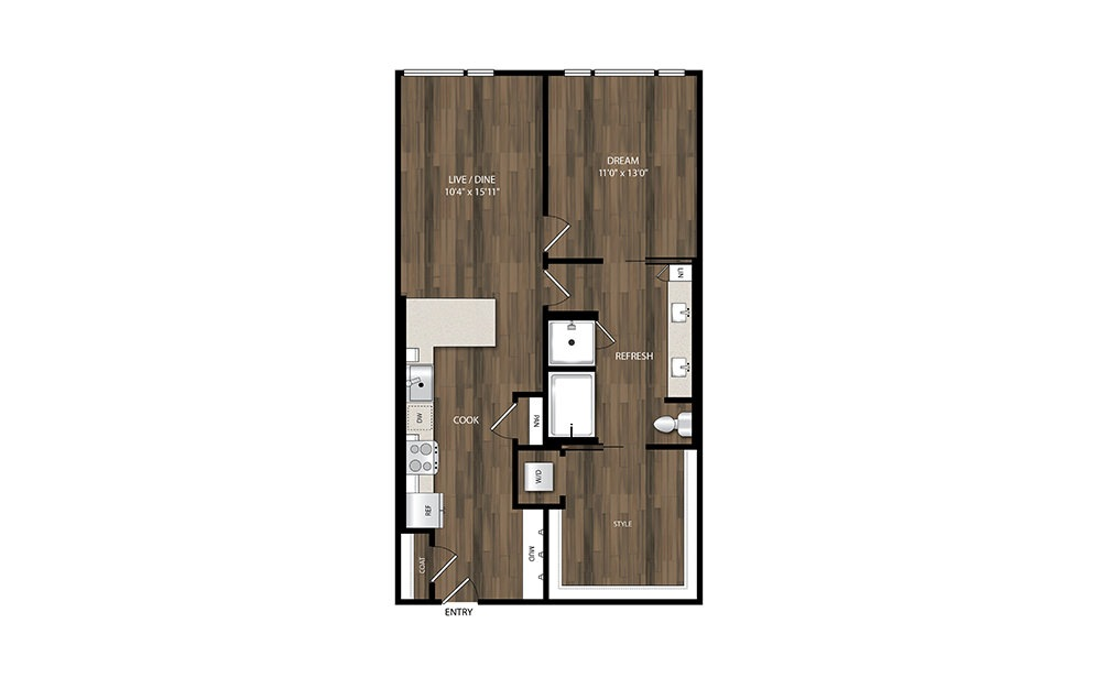 A21 - 1 bedroom floorplan layout with 1 bath and 881 square feet.