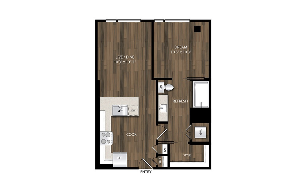 A4.1 - 1 bedroom floorplan layout with 1 bath and 618 square feet.