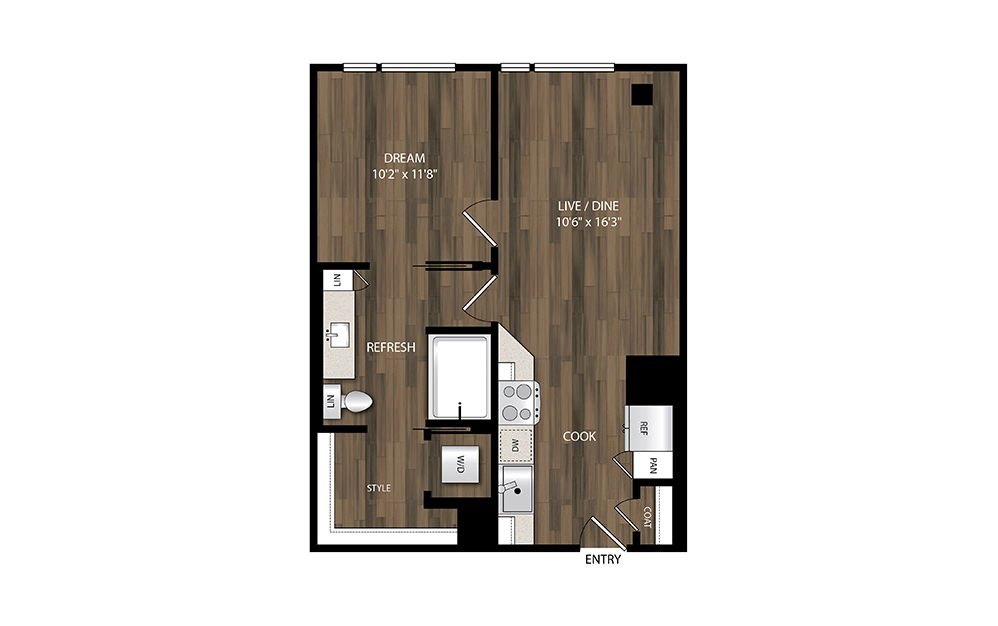A4.2 - 1 bedroom floorplan layout with 1 bath and 618 square feet.