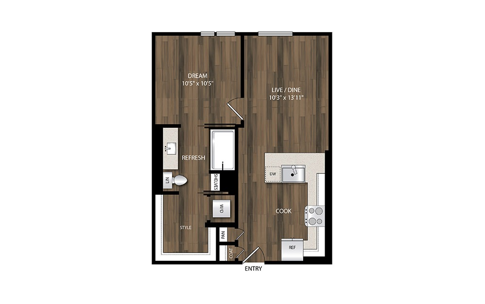 A4.3 - 1 bedroom floorplan layout with 1 bath and 619 square feet.