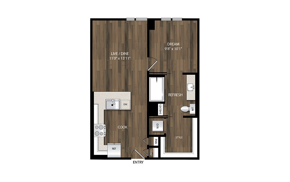 A4.4 - 1 bedroom floorplan layout with 1 bath and 619 square feet.
