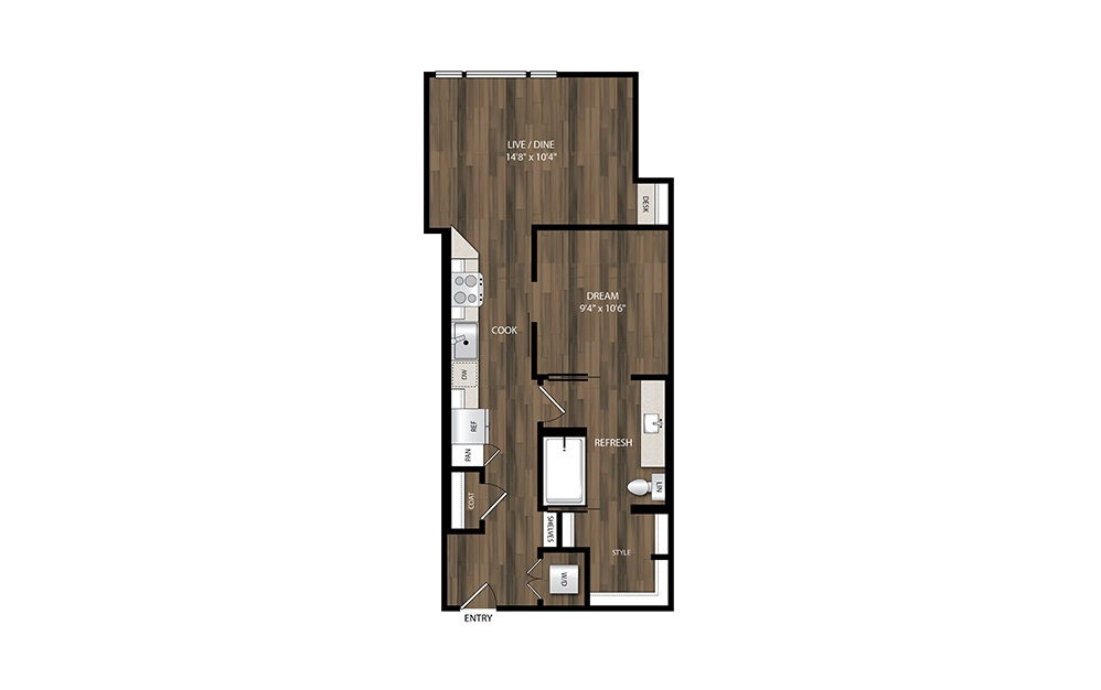 A5 - 1 bedroom floorplan layout with 1 bath and 660 square feet.