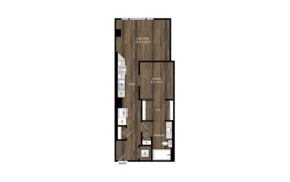 A5.1 - 1 bedroom floorplan layout with 1 bath and 624 square feet.