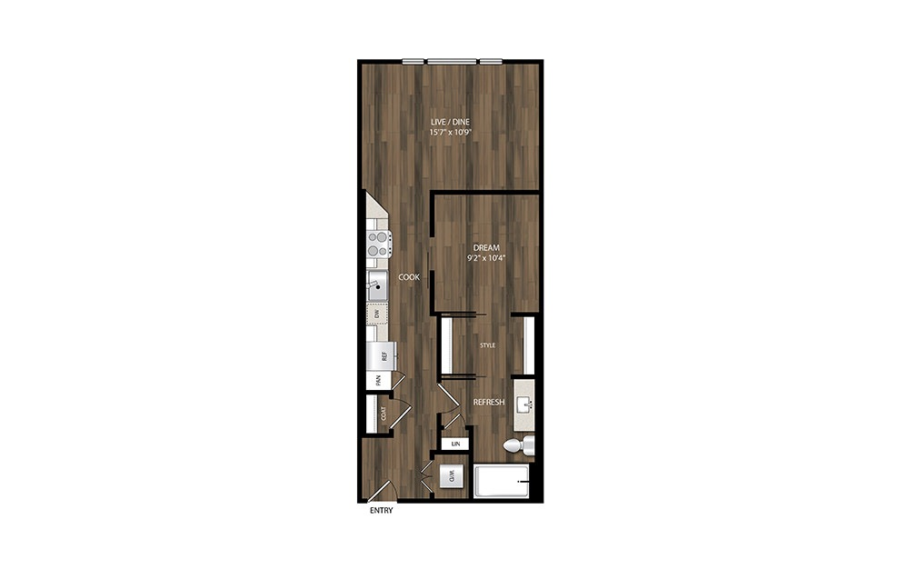 A5.2 - 1 bedroom floorplan layout with 1 bath and 638 square feet.