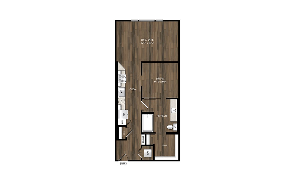 A5.3 - 1 bedroom floorplan layout with 1 bath and 694 square feet.