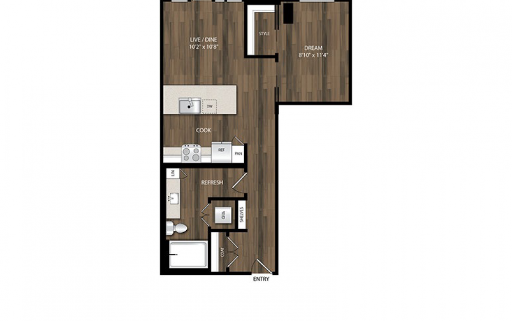 A6 - 1 bedroom floorplan layout with 1 bath and 636 square feet.