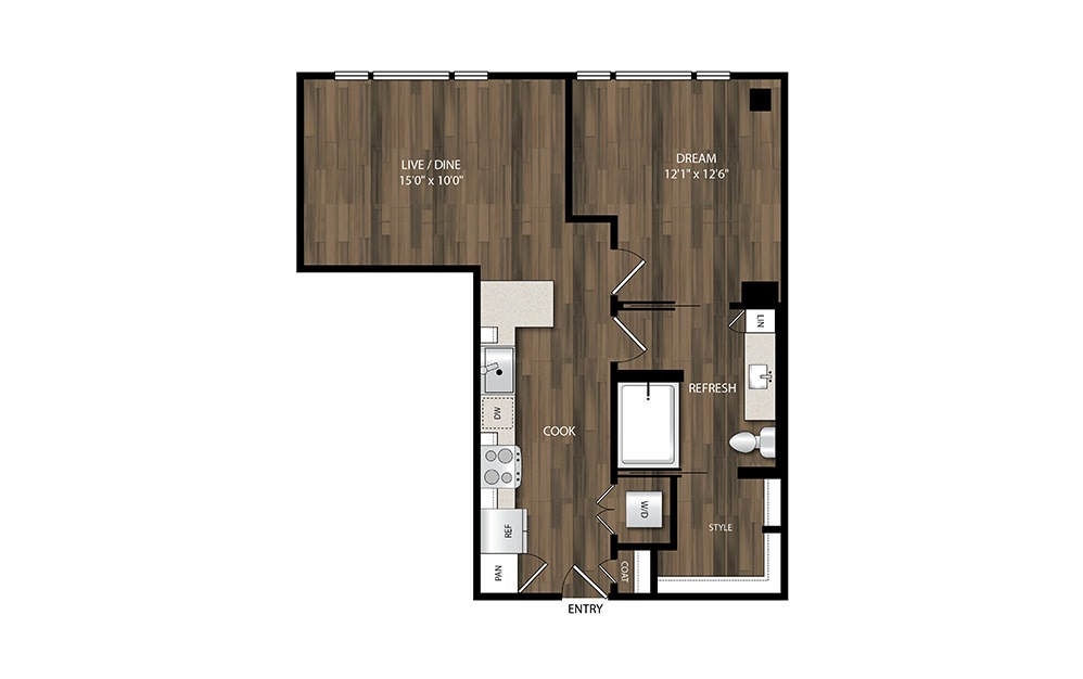 A7 - 1 bedroom floorplan layout with 1 bath and 690 square feet.
