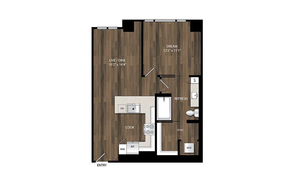 A8 - 1 bedroom floorplan layout with 1 bath and 689 square feet.