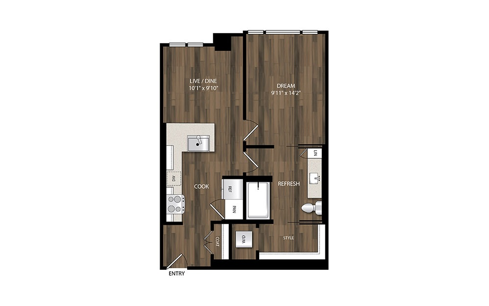 A8.1 - 1 bedroom floorplan layout with 1 bath and 620 square feet.