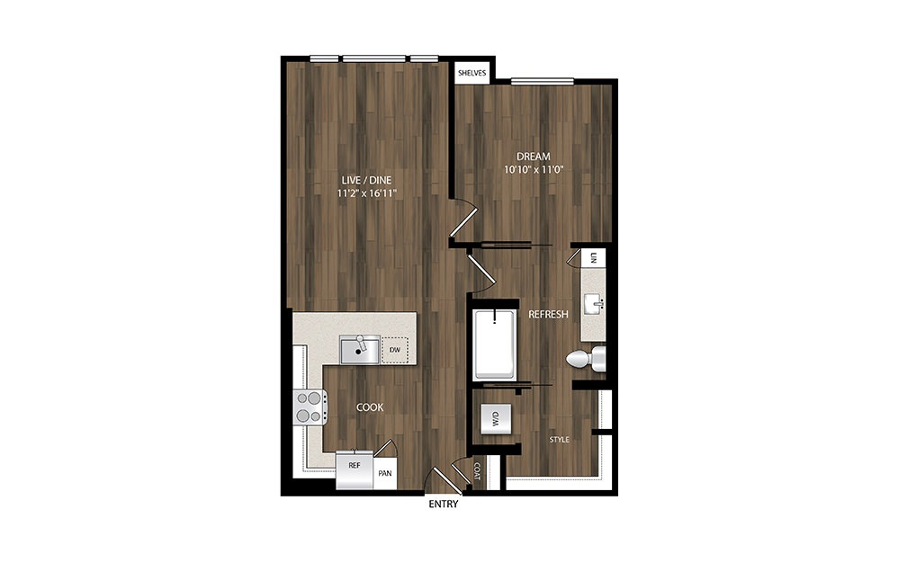 A9 - 1 bedroom floorplan layout with 1 bath and 693 square feet.