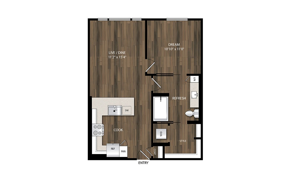 A9.1 - 1 bedroom floorplan layout with 1 bath and 665 square feet.