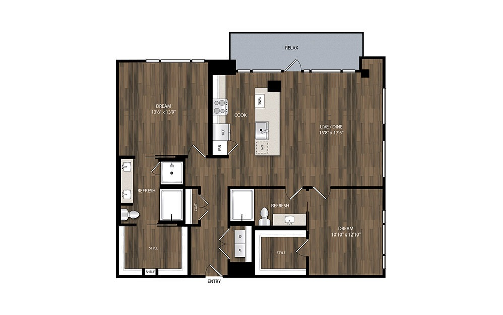 B10 - 2 bedroom floorplan layout with 2 baths and 1331 square feet.