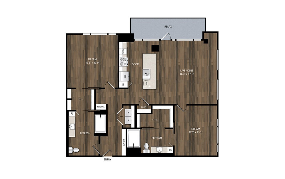 B10.1 - 2 bedroom floorplan layout with 2 baths and 1331 square feet.