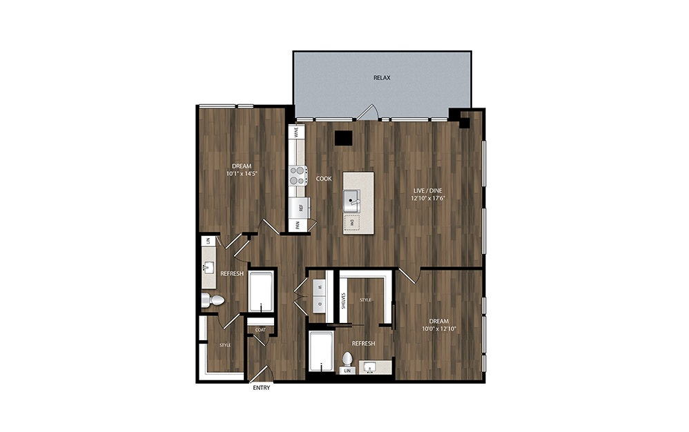 B10.2 - 2 bedroom floorplan layout with 2 baths and 1129 square feet.