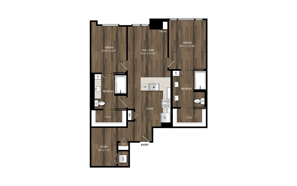 B11 - 2 bedroom floorplan layout with 2 baths and 1023 square feet.