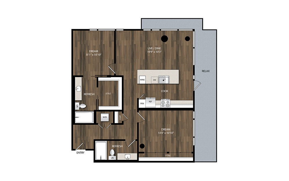 B2 - 2 bedroom floorplan layout with 2 baths and 1096 square feet.