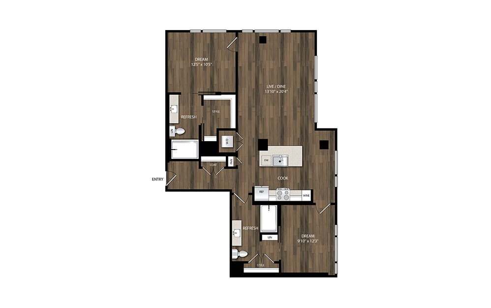 B3 - 2 bedroom floorplan layout with 2 baths and 1146 square feet.