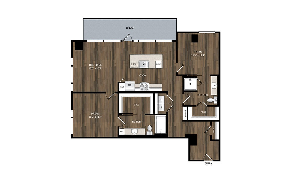 B4 - 2 bedroom floorplan layout with 2 baths and 1154 square feet.