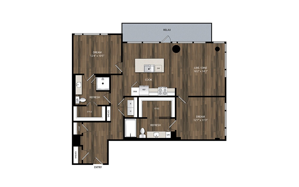 B4.1 - 2 bedroom floorplan layout with 2 baths and 1186 square feet.