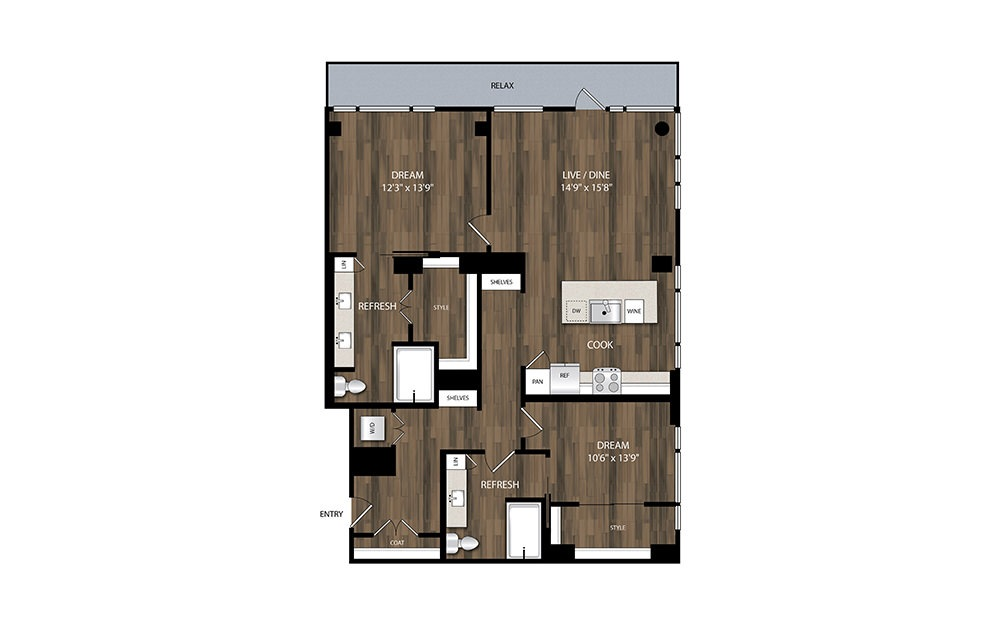 B5 - 2 bedroom floorplan layout with 2 baths and 1214 square feet.