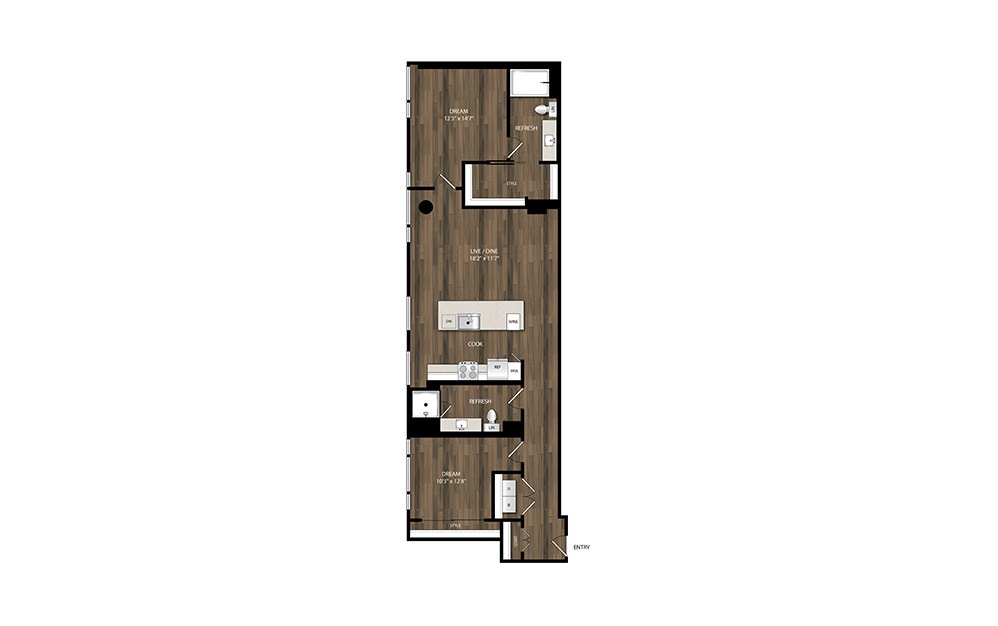 B6 - 2 bedroom floorplan layout with 2 baths and 1215 square feet.