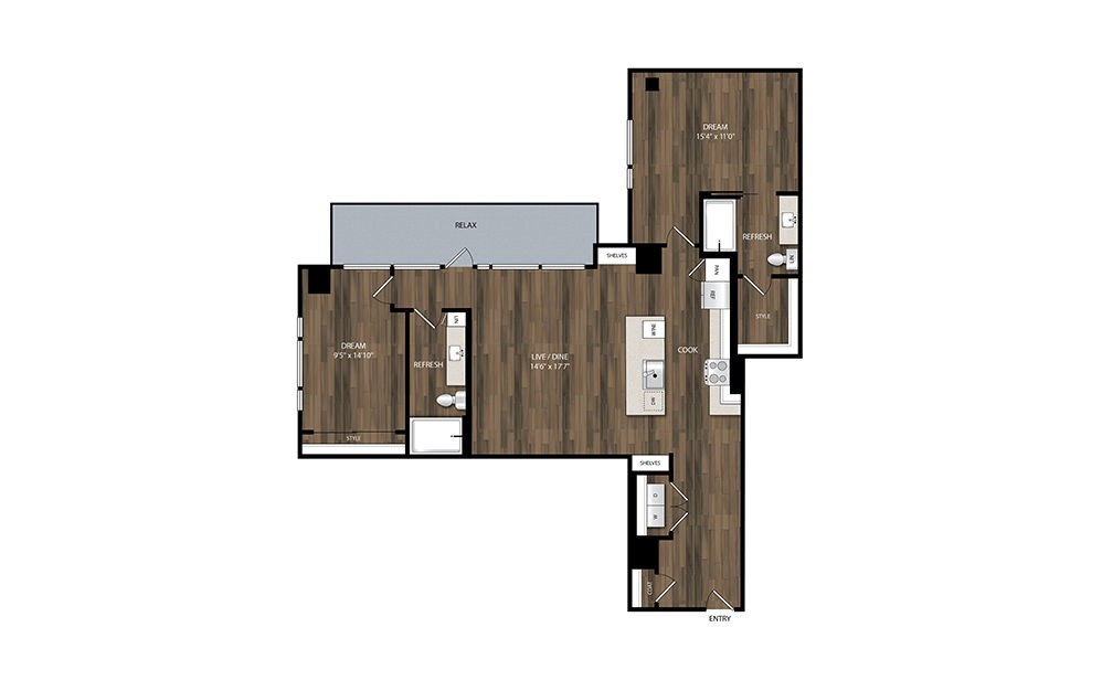 B7 - 2 bedroom floorplan layout with 2 baths and 1314 square feet.