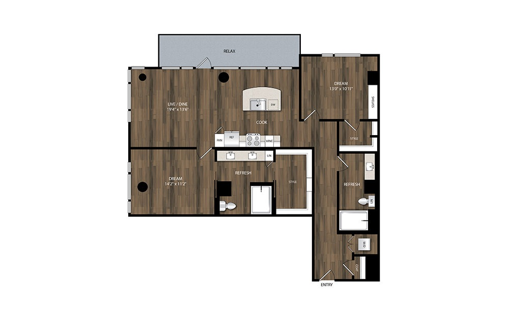 B8 - 2 bedroom floorplan layout with 2 baths and 1272 square feet.