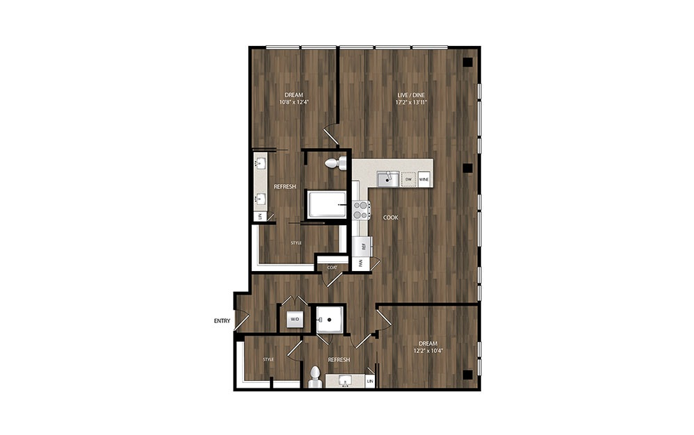 B9 - 2 bedroom floorplan layout with 2 baths and 1327 square feet.