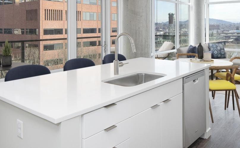 Portland Astoria Living Room and Kitchen
