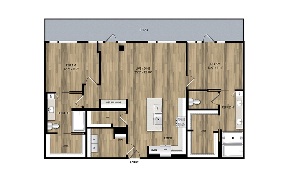 PH2 - 2 bedroom floorplan layout with 2 baths and 1327 square feet.