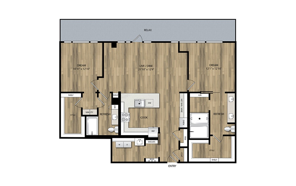 PH3 - 2 bedroom floorplan layout with 2 baths and 1407 square feet.